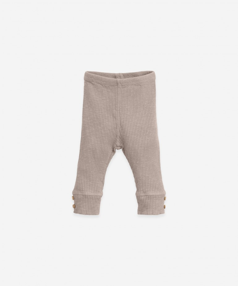 Leggings in organic cotton with ribbing