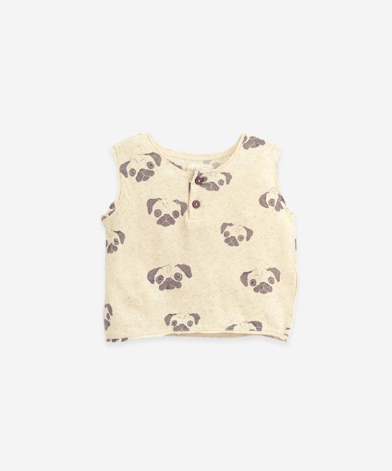 "T-Shirt senza maniche con stampa ""Pug"""