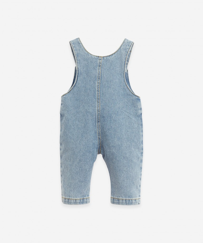 Denim dungarees with coconut buttons