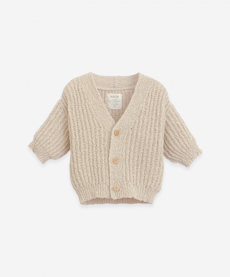 Knitted cotton and linen cardigan