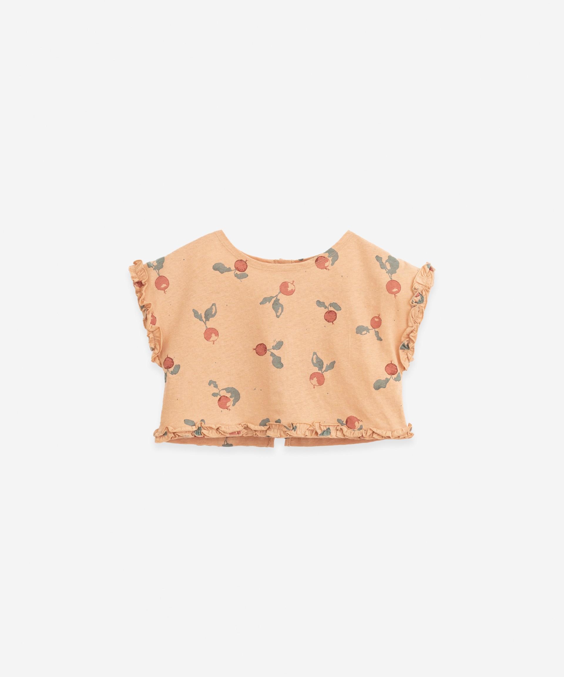 T-shirt com folhos | Botany