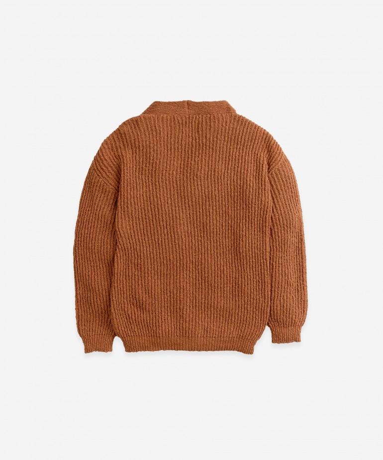 Casaco em malha tricotada de algodão-linho