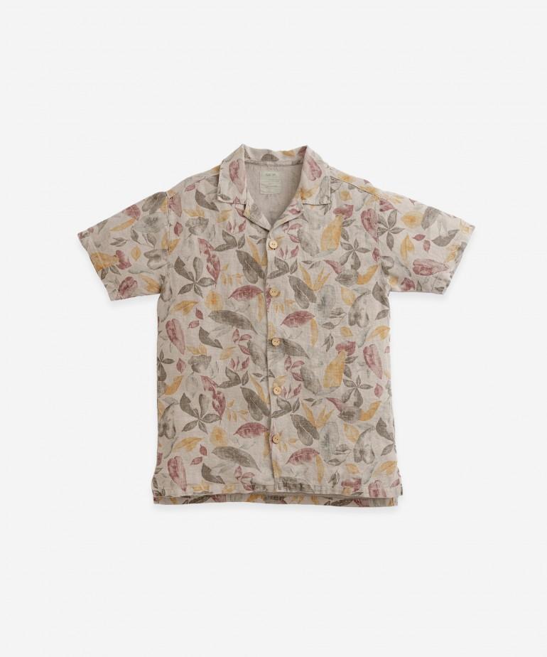 Camicia di lino con bottoni in cocco