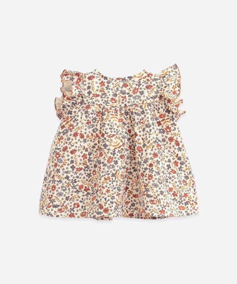 Vestido de algodão com estampado de flores