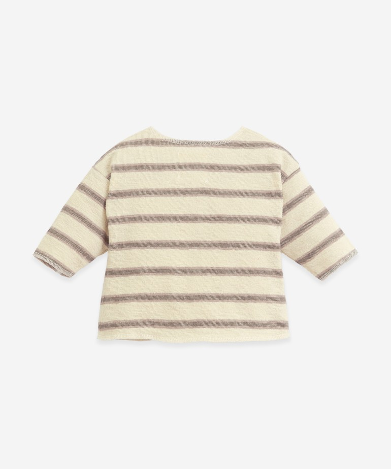 Striped jersey knit sweater