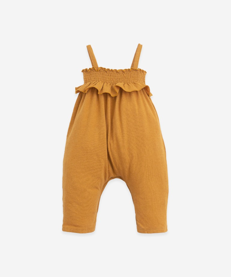 Jumpsuit in organic cotton and linen