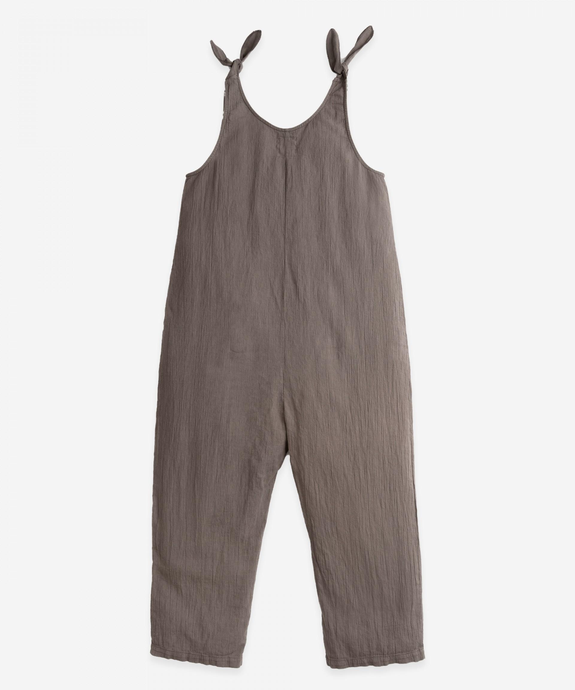 Long cotton jumpsuit | Botany