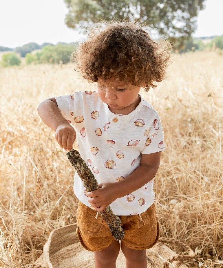 Printed T-shirt in organic cotton with lemon drawing | Woodwork
