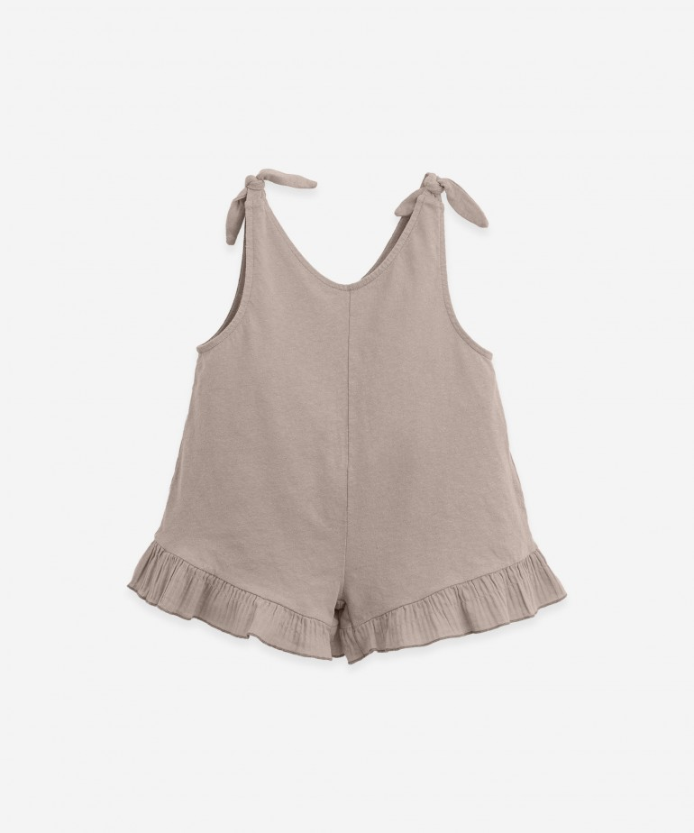 Short jumpsuit in organic cotton and linen