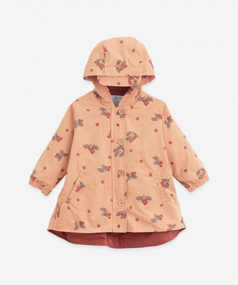Twill parka with blueberry print