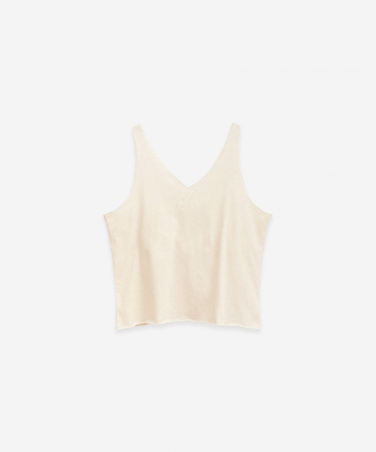 Sleeveless T-shirt in cotton and hemp