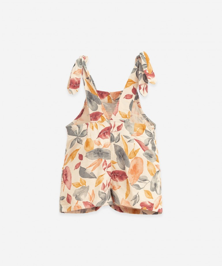 Dungarees with leaf print