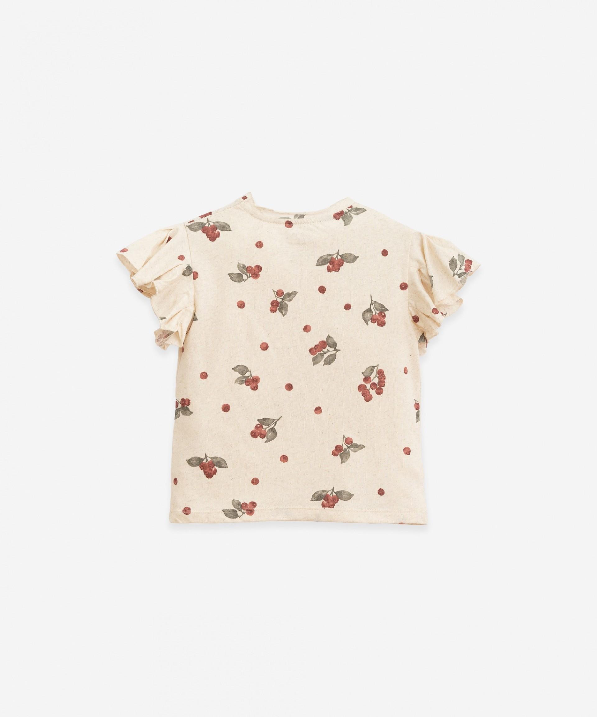 T-shirt com estampado de mirtilos | Botany
