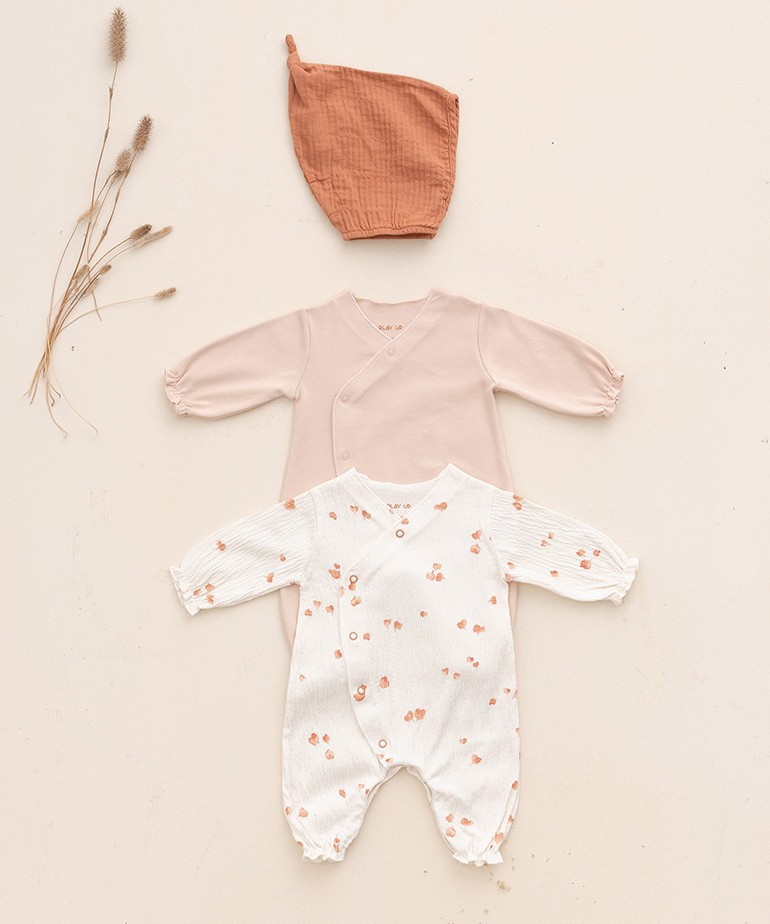 Set of 2 babygrows plain and printed
