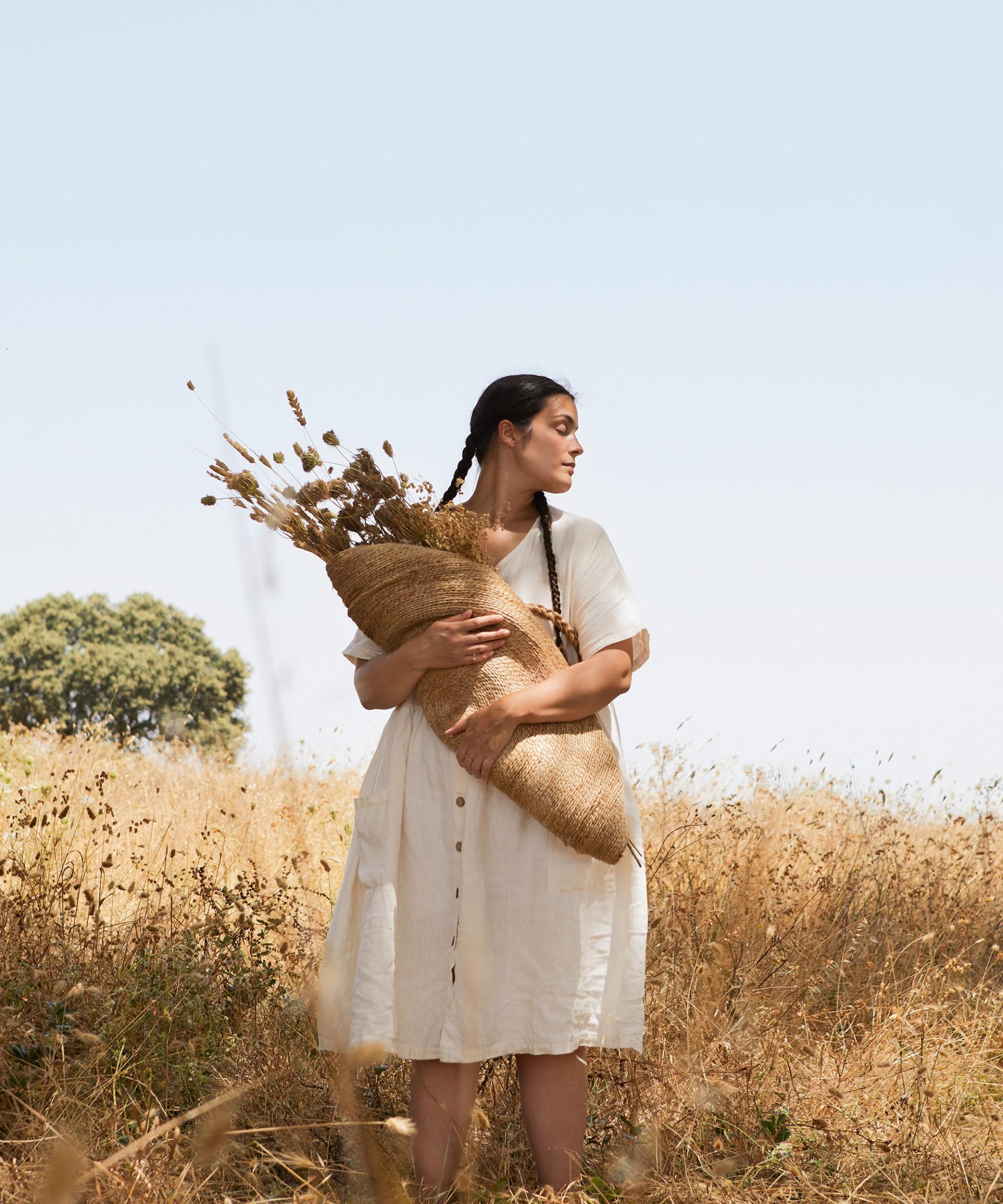 Vestido de lino con bolsillos grandes | Botany