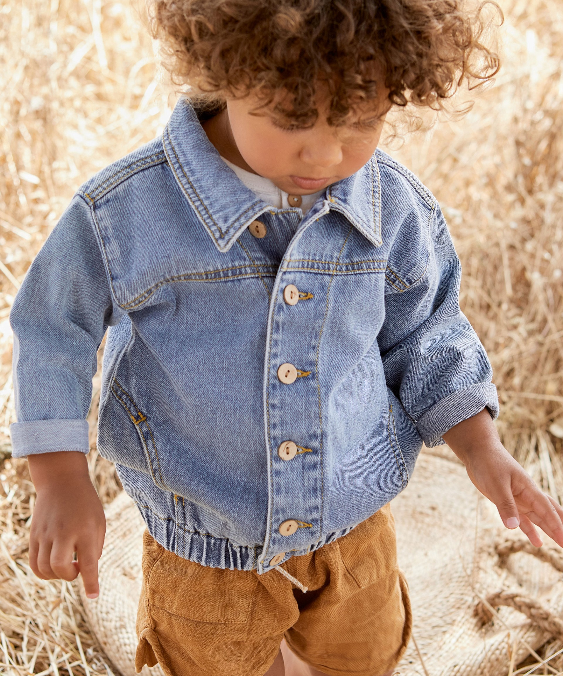 Denim jacket with buttons | Botany