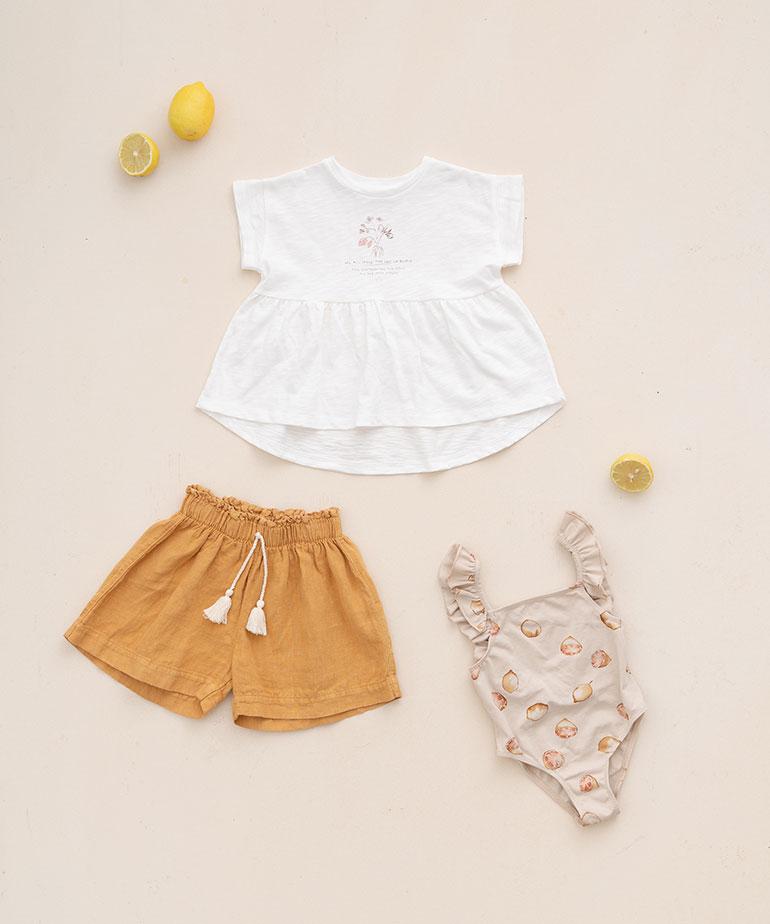 Swimsuit with lemon print