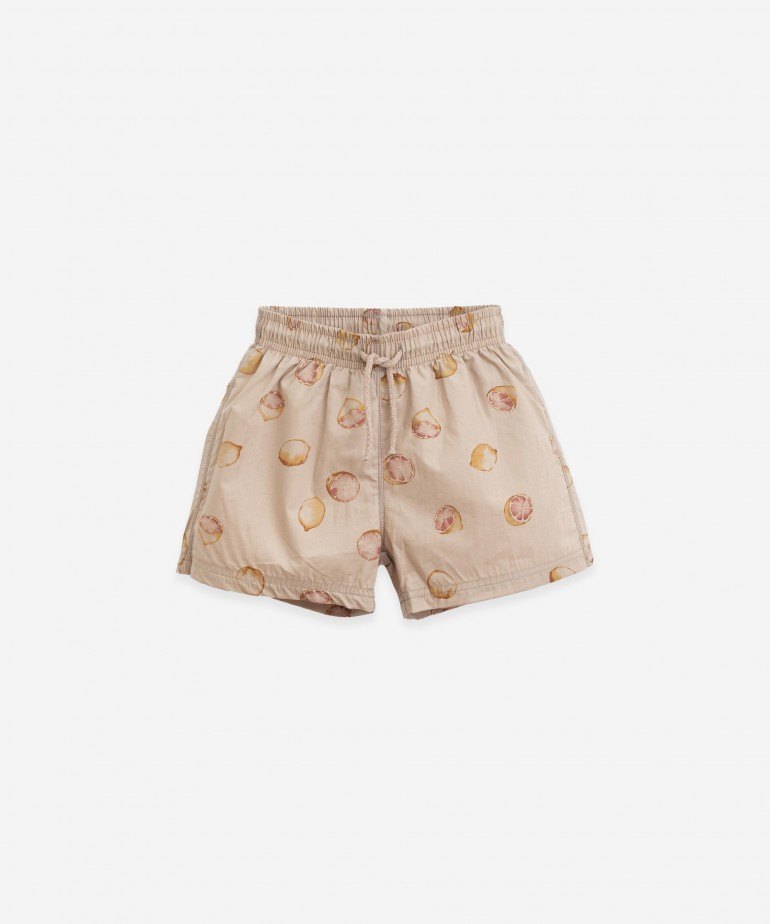 Printed poplin swimming shorts