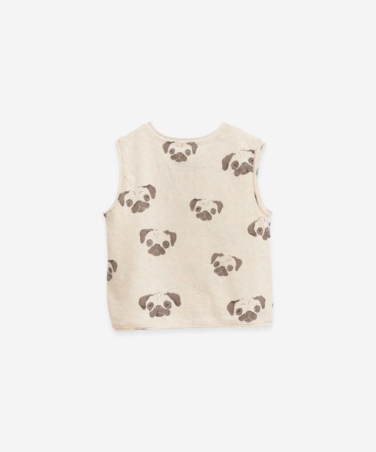 T-shirt sem mangas com estampado de Pug