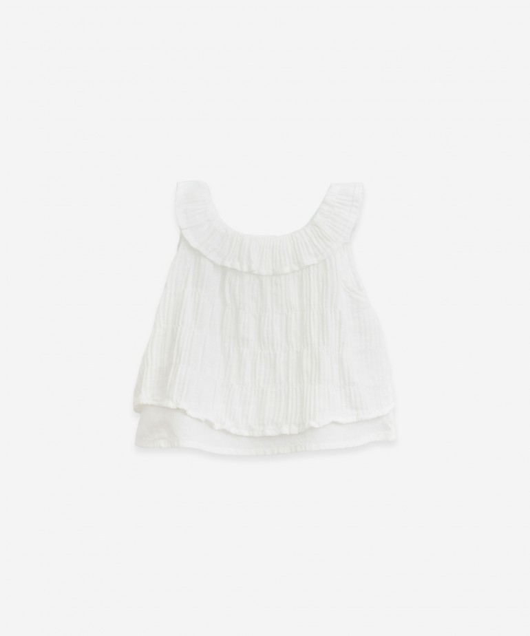 Woven tunic with frill