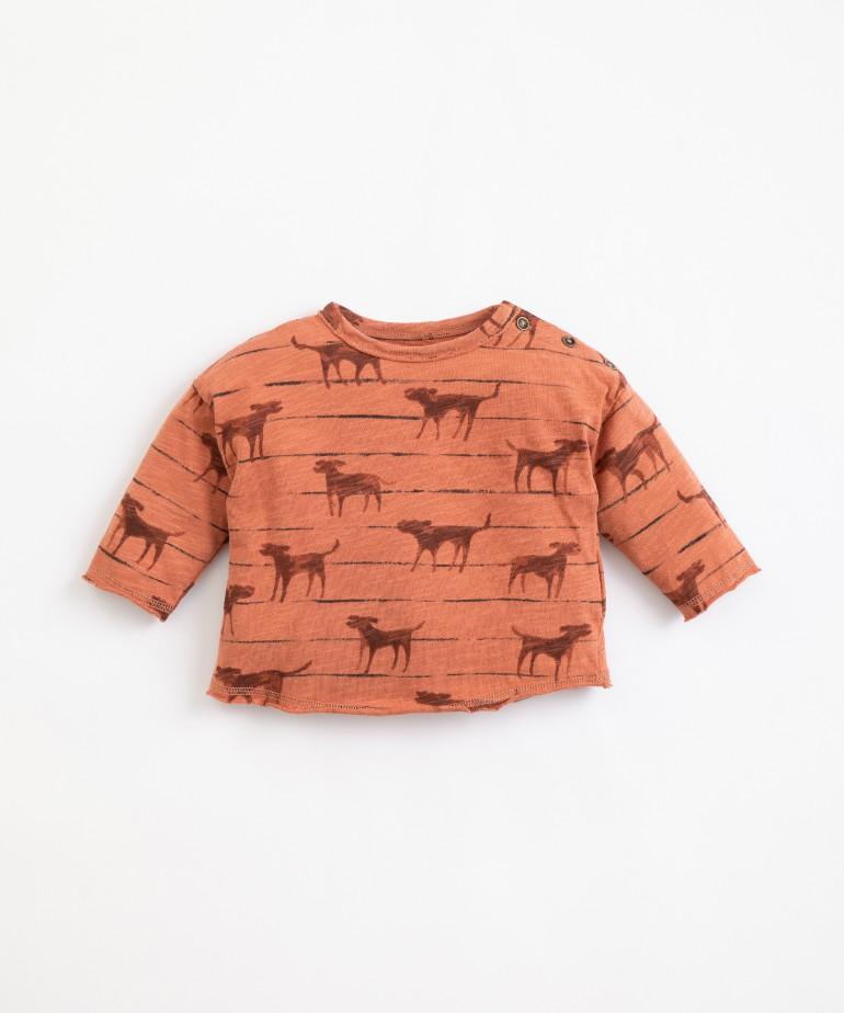 Camiseta de algodón orgánico con estampado de perros