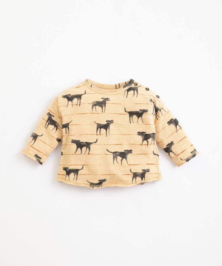 Organic cotton T-shirt with dogs print
