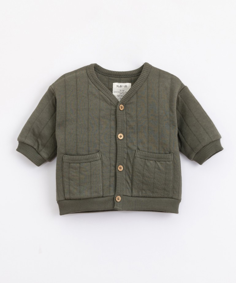 Jersey-knit jacket in cotton and recycled fibres