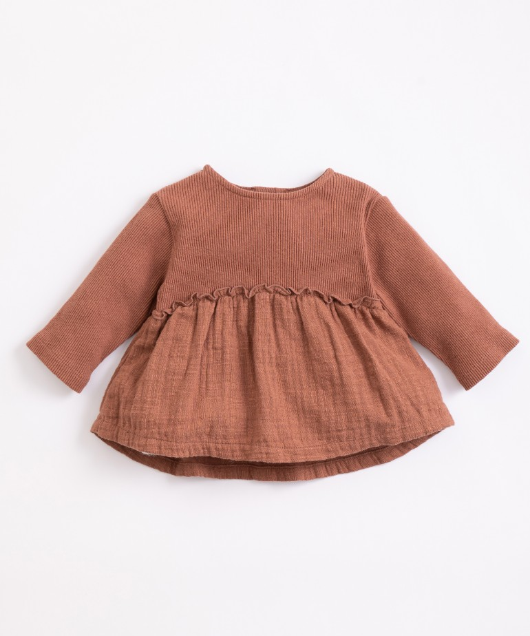 Tunic with a mixture of knitwear and cloth