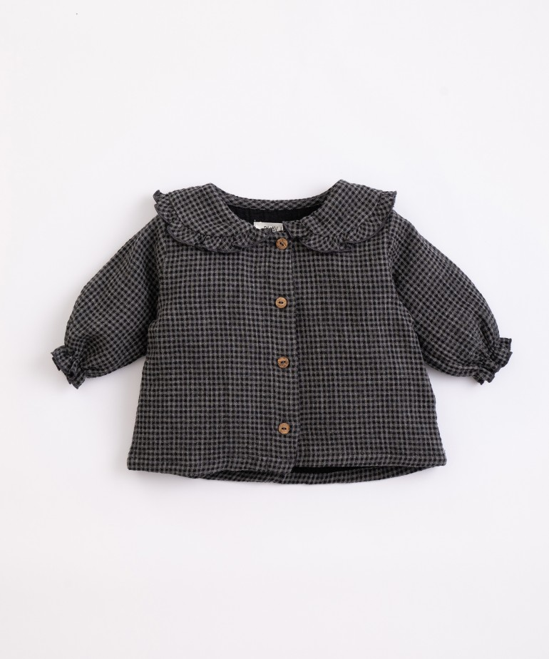 Woven tunic with vichy pattern