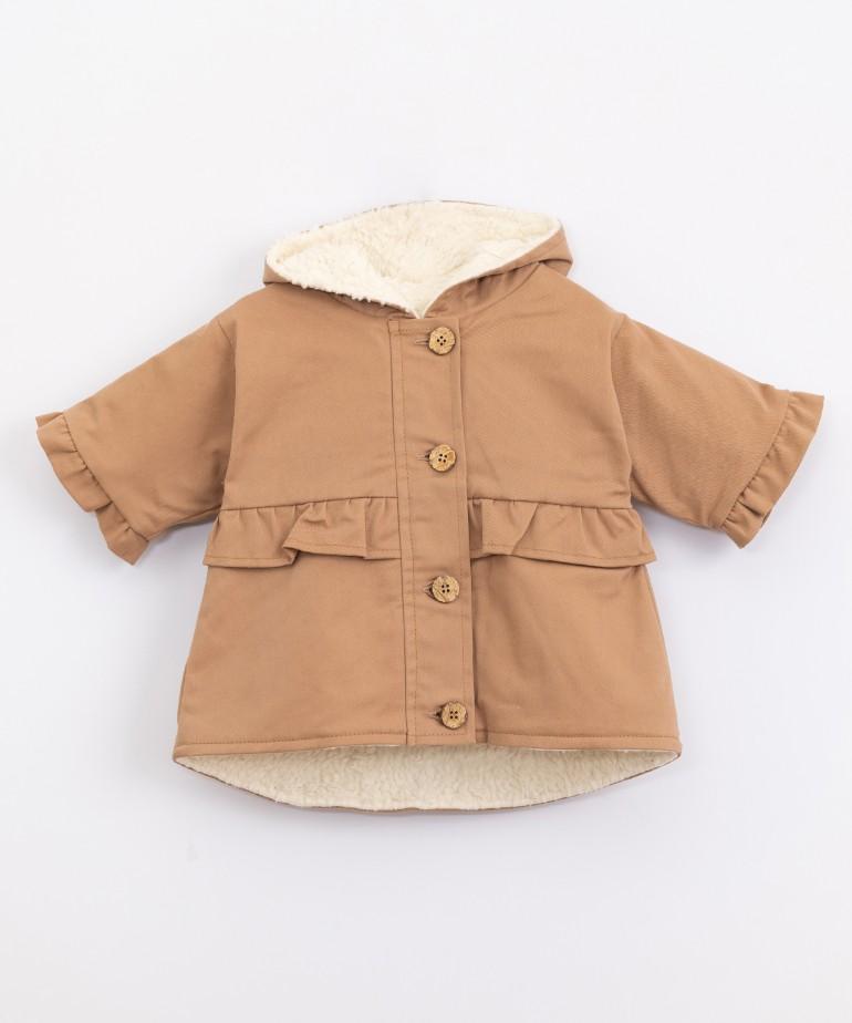Waterproof serge jacket with fur lining