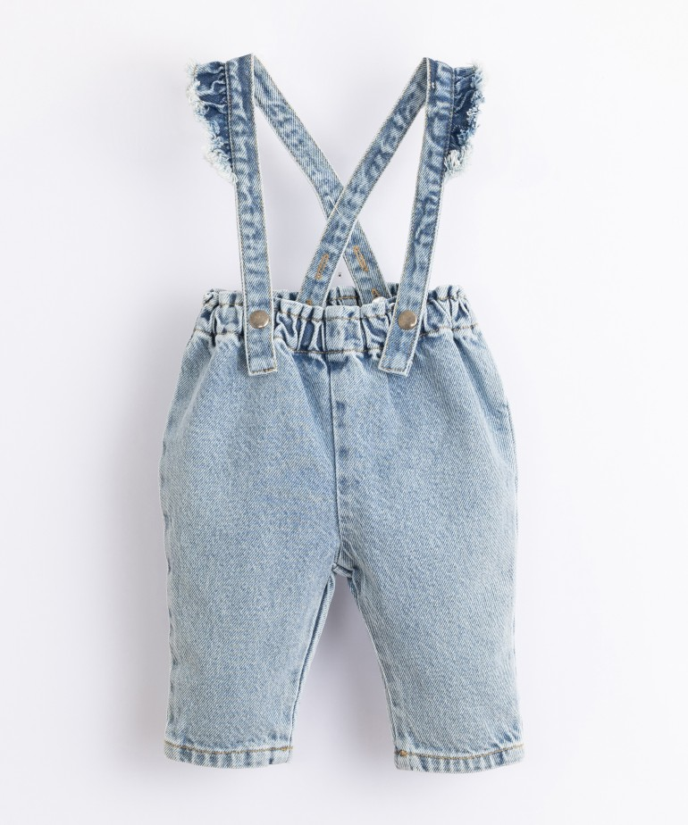 Denim dungarees with removable straps