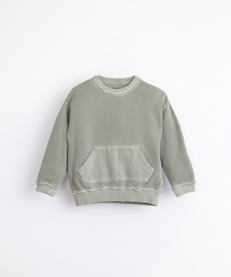 Cotton jersey with kangaroo pocket