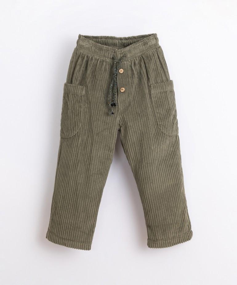 Pantaloni in bombasina con tasche laterali