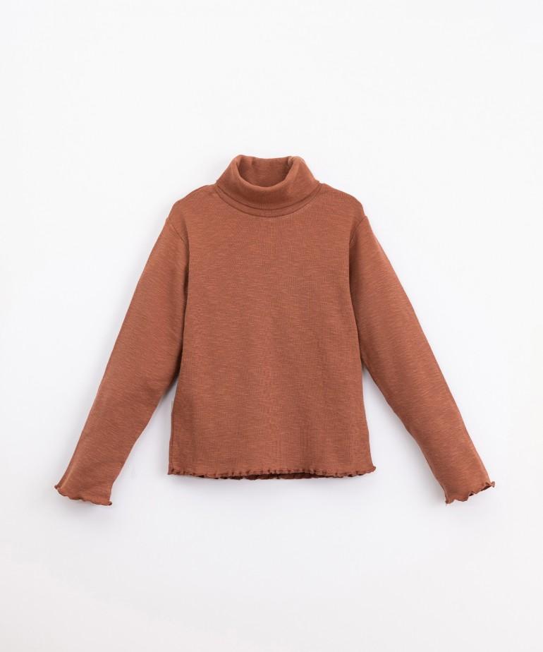 Jersey de cuello alto de algodón orgánico