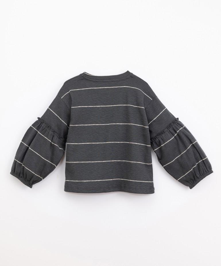Camisola em algodão orgânico com mangas volumosas