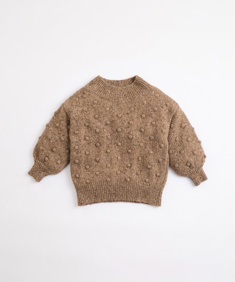 Camisola tricot com gola subida