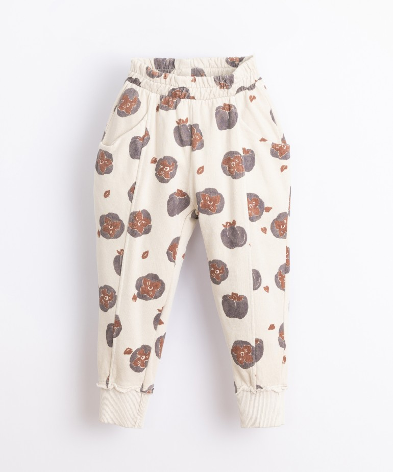 Jersey stitch trousers with print
