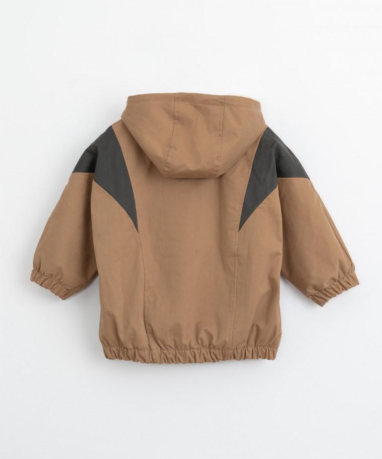Serge jacket with fur lining